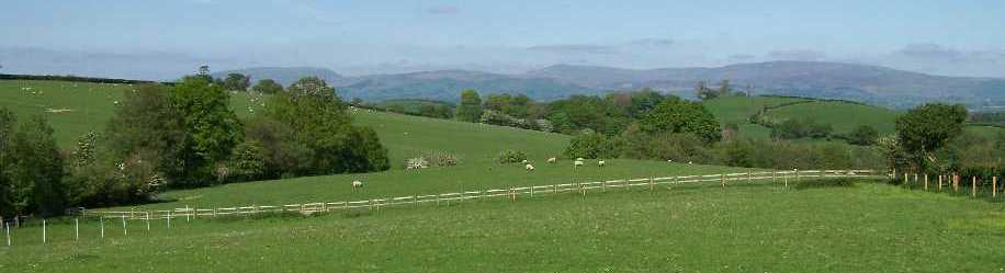 view over the fells from the gardens of Locka Old Hall Cottage